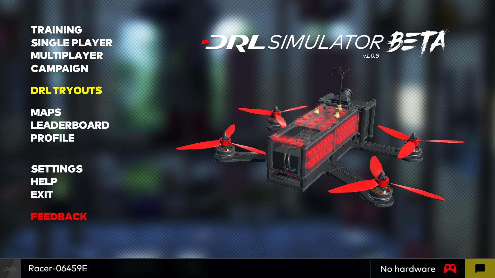 Menu principal du simulateur